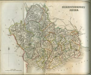 An accompanying 19th C. Outline map of the parishes of Kirkcudbrightshire